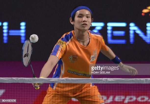 Tai Tzu Ying of Ahmedabad Smash Masters returns to Kirsty Gilmour of Bengaluru Blasters during their women singles second semi final match of the...