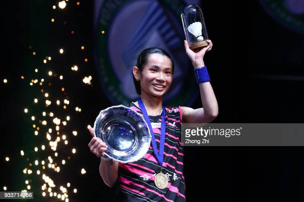 Tai Tzu Ying of Chinese Taipei celebrates with the trophy after beating Akane Yamaguchi of Japan in the women's singles final on day 5 of the Yonex...