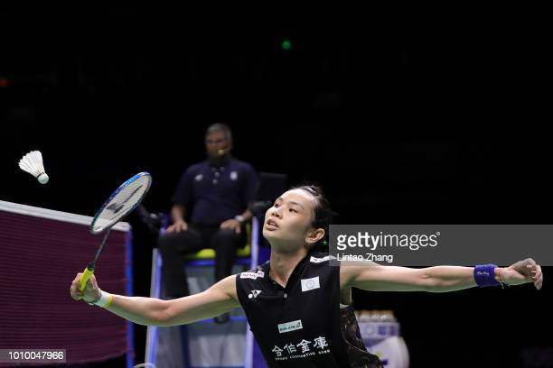 Tai Tzu Ying of Chinese Taipei compete against He Bingjiao of China in their women's singles quarterfinals during the Badminton World Championships...