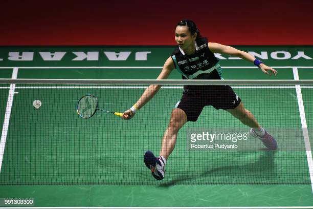 Tai Tzu Ying of Chinese Taipei compete against Saena Kawakami of Japan during the Women's Singles Round 1 match on day two of the Blibli Indonesia...