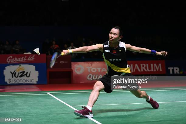 Tai Tzu Ying of Chinese Taipei competes against Akane Yamaguchi of Japan on day five of the Bli Bli Indonesia Open at Istora Gelora Bung Karno on...