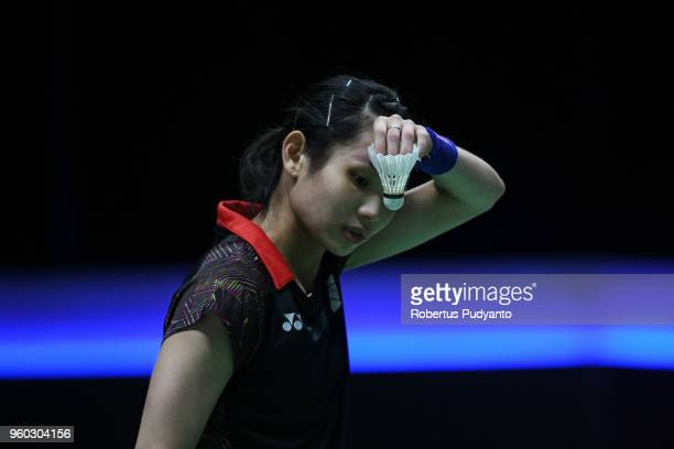Tai Tzu Ying of Chinese Taipei competes against Cheung Ngan Yi of Hong Kong during qualification match on day one of the BWF Thomas Uber Cup at...