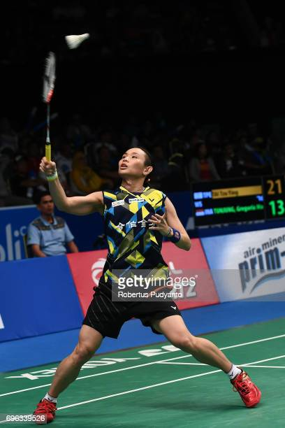 Tai Tzu Ying of Chinese Taipei competes against Gregoria Mariska Tunjung of Indonesia during Womens Single Round 2 match of the BCA Indonesia Open...