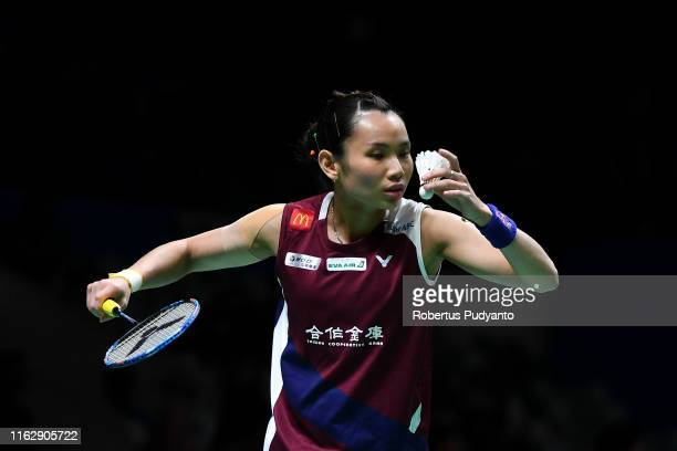 Tai Tzu Ying of Chinese Taipei competes against Ratchanok Intanon of Thailand on day four of the Bli Bli Indonesia Open at Istora Gelora Bung Karno...
