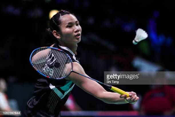 Tai Tzu Ying of Chinese Taipei competes in the Women's Singles first round match against Sayaka Takahashi of Japan on day two of the Denmark Open at...