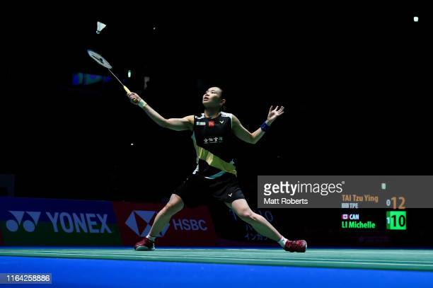 Tai Tzu Ying of Chinese Taipei competes in the Women's Singles Quarterfinal match against Michelle Li of Canada on day four of the Daihatsu Yonex...