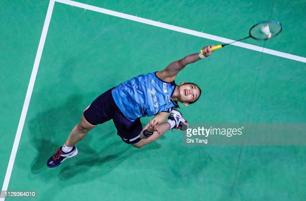 Tai Tzu Ying of Chinese Taipei competes in the Women's Singles semi finals match against Akane Yamaguchi of Japan on day four of the Yonex All...