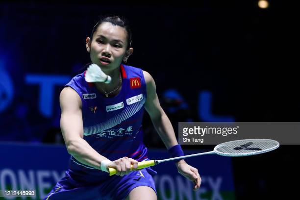 Tai Tzu Ying of Chinese Taipei competes in the Women's Singles semi finals match against Carolina Marin of Spain on day four of the Yonex All England...