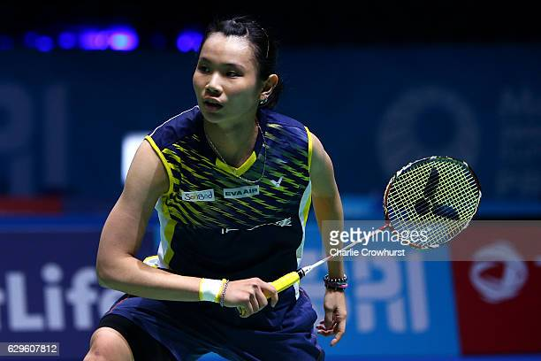 Tai Tzu Ying of Chinese Taipei dives for the shuttle during her singles match against He Bingjoao of China on Day One of the BWF Dubai World...