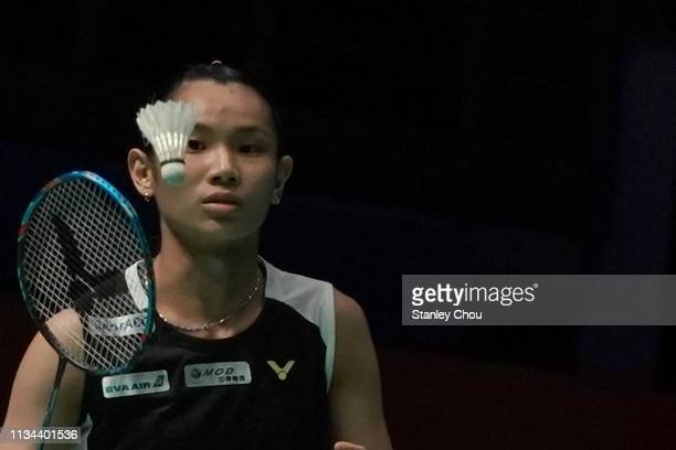 Tai Tzu Ying of Chinese Taipei eyes on the shuttle cock on day one of the Badminton Malaysia Open at Axiata Arena on April 2 2019 in Kuala Lumpur...