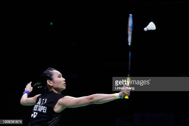Tai Tzu Ying of Chinese Taipei hits a shot against Beiwen Zhang of United States in their Women's singles match during the Badminton World...