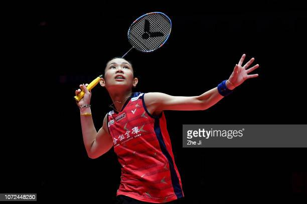 Tai Tzu Ying of Chinese Taipei hits a shot against Pusarla V Sindhu of India during the women's singles match on day 2 of the HSBC BWF World Tour...