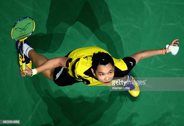 Tai Tzu Ying of Chinese Taipei in action against Ratchanok Intnon of Thiland during the Women's Singles RR1 match on day one of the BWF Destination...