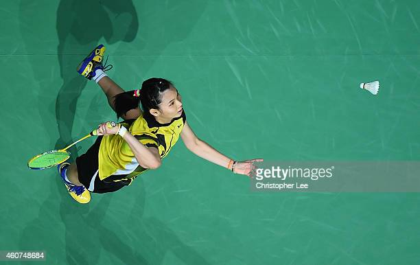 Tai Tzu Ying of Chinese Taipei in action against Sung Ji Hyun of Korea in the Womens Singles Final during day five of the BWF Destination Dubai World...