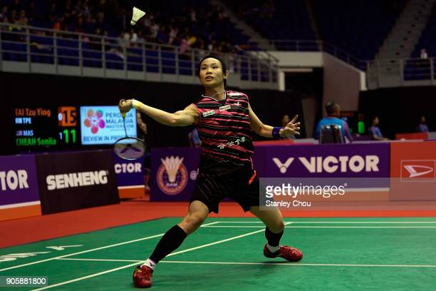 Tai Tzu Ying of Chinese Taipei in action during the Women Singles round one match of the Perodua Malaysia Masters 2018 on January 17 2018 in Kuala...