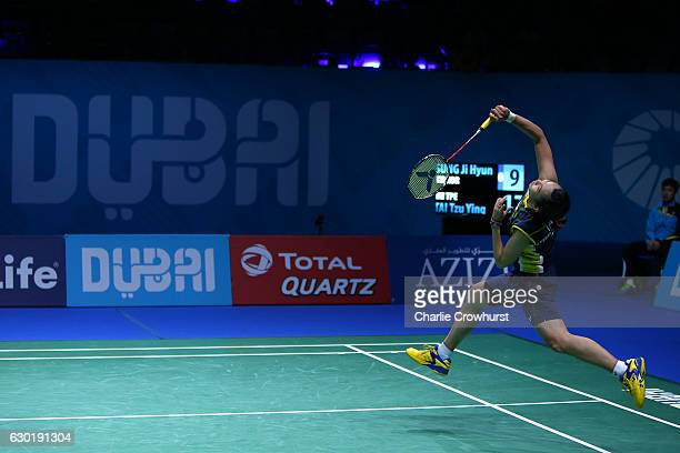 Tai Tzu Ying of Chinese Taipei in action during the womens final match against Sung Ji Hyun of Korea on Day Five of the BWF Dubai World Superseries...