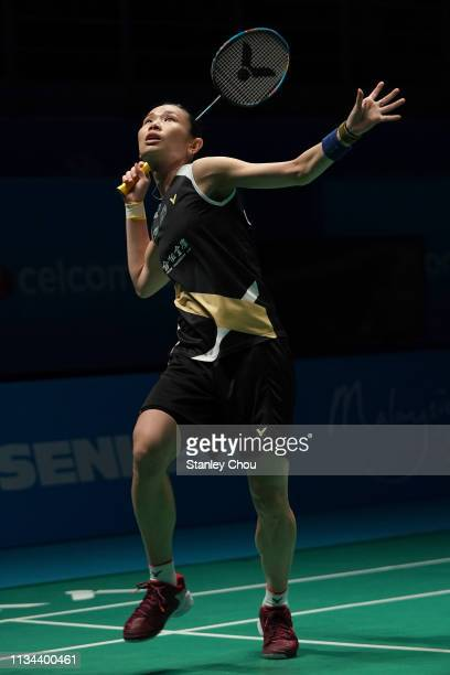 Tai Tzu Ying of Chinese Taipei in action on day one of the Badminton Malaysia Open at Axiata Arena on April 2 2019 in Kuala Lumpur Malaysia