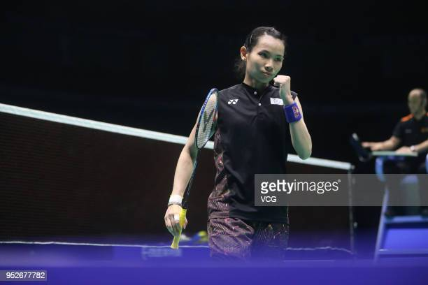 Tai Tzu Ying of Chinese Taipei reacts against Chen Yufei of China during women's singles final match on day six of 2018 Badminton Asia Championships...
