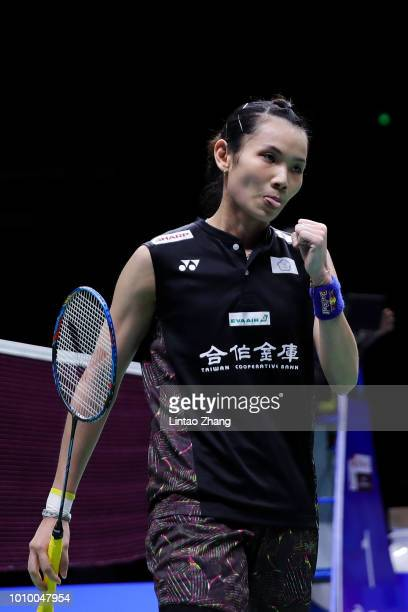 Tai Tzu Ying of Chinese Taipei reacts in against He Bingjiao of China in their women's singles quarterfinals during the Badminton World Championships...