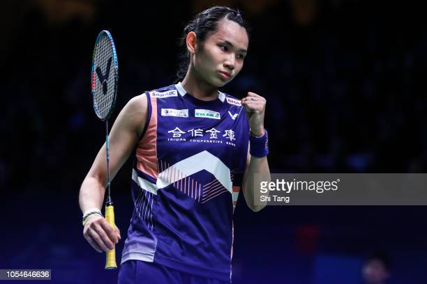 Tai Tzu Ying of Chinese Taipei reacts in the Women's Single final match against Akane Yamaguchi of Japan on day six of the French Open at Stade...