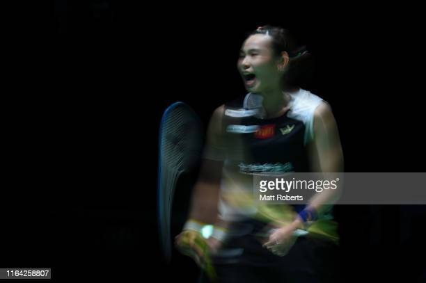 Tai Tzu Ying of Chinese Taipei reacts in the Women's Singles Quarterfinal match against Michelle Li of Canada on day four of the Daihatsu Yonex Japan...