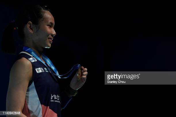 Tai Tzu Ying of Chinese Taipei shows off his Gold Medal after he defeated Akane Yamakuchi of Japan on day six of the Badminton Malaysia Open at...