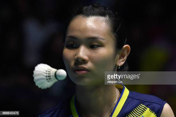 Tai Tzu Ying of Chinese Taipei watches the shuttle cock during her match with Carolina Marin of Spain during the women's singles final of the 2017...