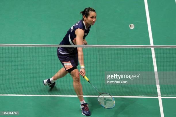 Tai Tzu Ying of Taipeh in action during Celcom Axiata Badminton Malaysia Open 2018 at Bukit Jalil Stadium Kuala Lumpur on June 27 2018 in Kuala...