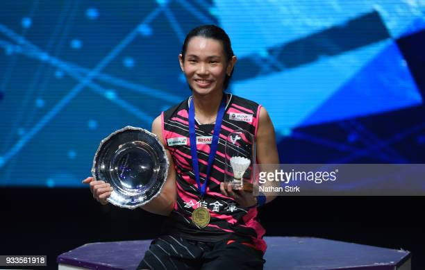 Tai Tzu Ying of Taiwan celebrates after beating Akane Yamaguchi of Japan on day five of the Yonex All England Open Badminton Championships at Arena...