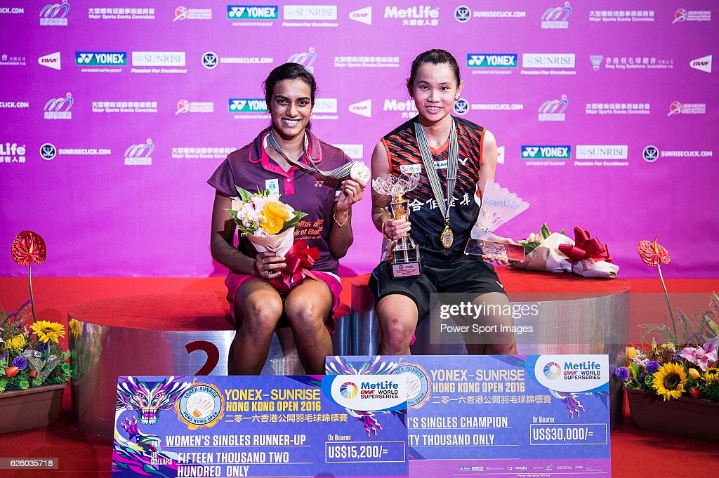 Tai Tzu Ying of Taiwan (r) celebrates with her gold medal after winning Pusarla V. Sindhu of India (l) on their Women's Singles Final of YONEX-SUNRISE Hong Kong Open Badminton Championships 2016 at the Hong Kong Coliseum on 27 November 2016 in Hong Kong, Hong Kong. (Photo by Power Sport Images/Getty Images))
