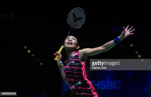 Tai Tzu Ying of Taiwan competes against Akane Yamaguchi of Japan on day five of the Yonex All England Open Badminton Championships at Arena...