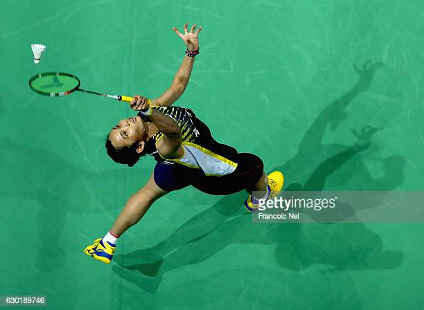Tai Tzu Ying of Taiwan in action against Sung Ji Hyun of Korea in the Final of the Women's Singles on day five of the BWF Dubai World Superseries...