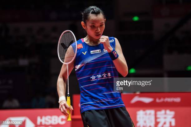 Tai Tzu Ying of Taiwan reacts during her women's singles final match against Chen Yufei of China at the BWF World Tour Finals badminton tournament in...