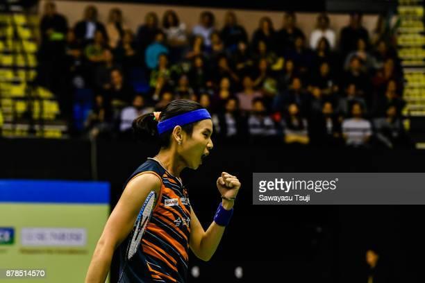 Tai Tzu Ying of Taiwan reacts during the Yonex Sunrise Hong Kong Open 2017 on November 24 2017 in Hong Kong Hong Kong