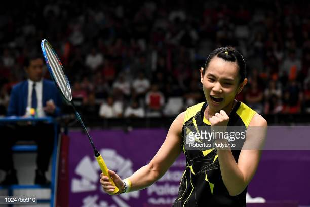 Tai Tzuying of Chinese Taipei celebrates victory after beating Pusarla V Sindhu of India during Women's Singles Final match on day ten of the Asian...