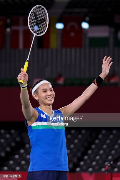 Tai Tzu-ying of Team Chinese Taipei celebrates as she wins against Pusarla V. Sindhu of Team India during a Women's Singles Semi-final match on day...