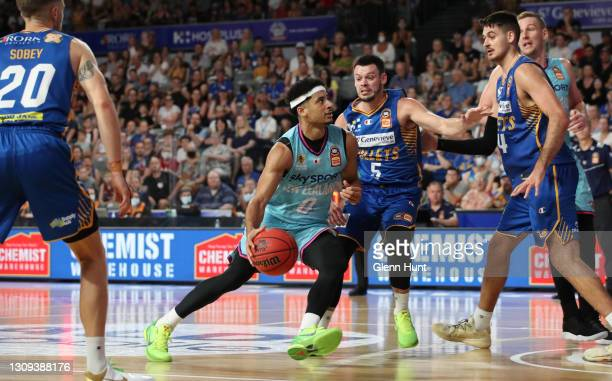 Tai Webster of the Breakers drives to the basket during the round 11 NBL match between the Brisbane Bullets and the New Zealand Breakers at Nissan...