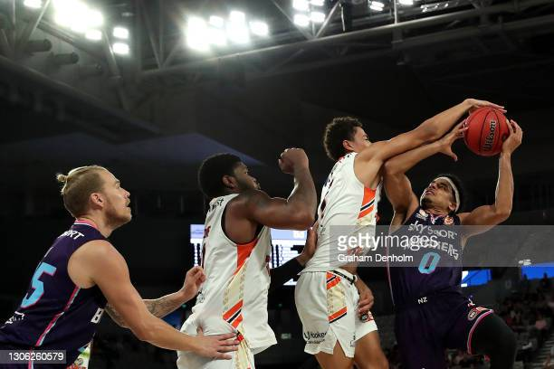 Tai Webster of the Breakers in action during the NBL Cup match between the New Zealand Breakers and the Cairns Taipans at John Cain Arena on March 10...