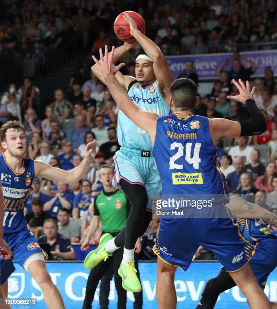 Tai Webster of the Breakers with the ball during the round 11 NBL match between the Brisbane Bullets and the New Zealand Breakers at Nissan Arena on...