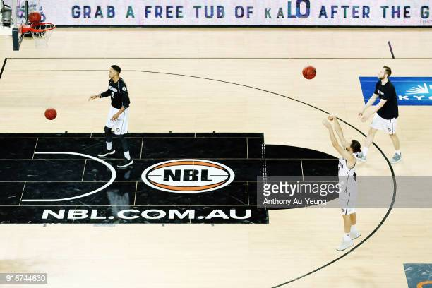 Tai Wesley Chris Goulding and David Barlow of United during warm up prior to the round 18 NBL match between the New Zealand Breakers and Melbourne...