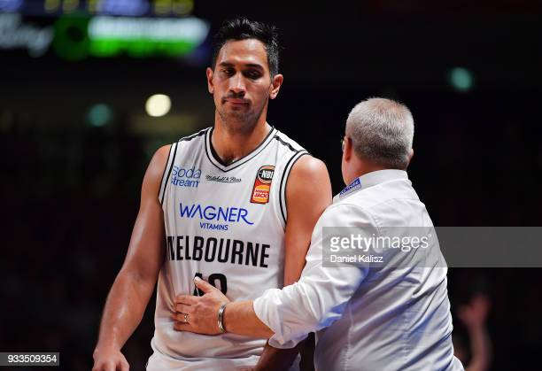 Tai Wesley of Melbourne United and Dean Vickerman head coach of Melbourne United are pictured during game two of the NBL Grand Final series between...