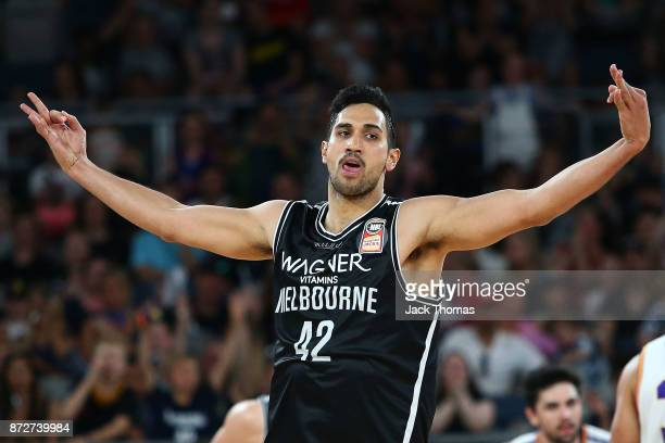 Tai Wesley of Melbourne United celebrates a three point fiels goal during the round six NBL match between Melbourne United and the Sydney Kings at...