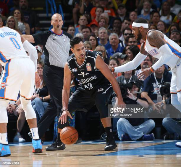 Tai Wesley of the Melbourne United handles the ball against the Oklahoma City Thunder during the preseason game on October 8 2017 at Chesapeake...