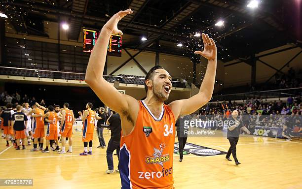 Tai Wesley of the Sharks celebrates victory after defeating the Saints in the National Basketball League grand final between the Southland Sharks and...