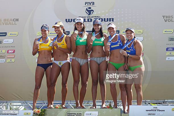 Taiana Lima and Juliana Felisberta of Brazil Silver Medal Elize Maia and Eduarda Lisboa of Brazil Gold Medal and Liliane Maestrini and Rebecca Silva...