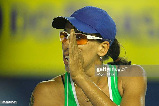 Taiana Lima of Brazil reacts during main draw match against Country Brazil the FIVB Fortaleza Open on Futuro Beach on April 30 2016 in Fortaleza...