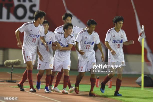 Taichi Kikuchi of Ryutsu Keizai University selebrates scoring his team's first goal during the 99th Emperor's Cup 2nd Round between Urawa Red...