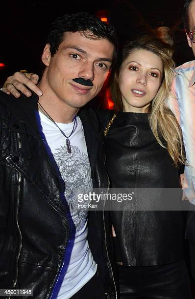 Taig Khris and Tristane Banon attend the 'Moustache Party' At The Titty Twister Club on December 12 2013 in Paris France