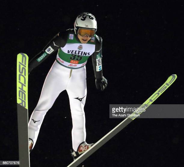 Taihei Kato of Japan competes in the ski jumping of the FIS Nordic Combined World Cup qualification during day one of the Ruka Nordic on November 23...
