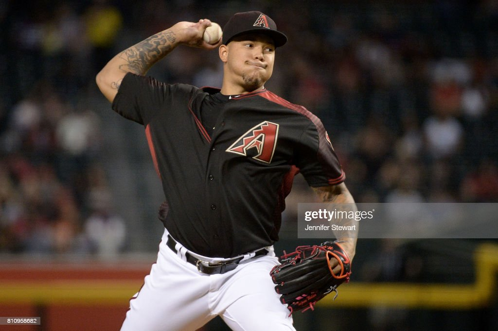 Taijuan Walker #99 of the Arizona Diamondbacks delivers a pitch during the first inning of the MLB game against the Cincinnati Reds at Chase Field on July 8, 2017 in Phoenix, Arizona.